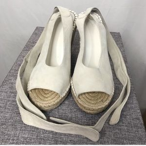 Joie Shoes - Joie Cream Kael Suede Espadrille Wedges Boho Glam